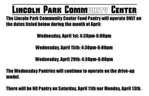 Bi-Weekly Boxed Food Drive-Up Pantry @ Lincoln Park Community Center Food Pantry